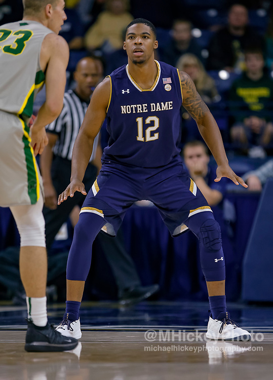 SOUTH BEND, IN - NOVEMBER 08: Elijah Burns #12 of the Notre Dame Fighting Irish is seen during the game against the Chicago State Cougars at Purcell Pavilion on November 8, 2018 in South Bend, Indiana. (Photo by Michael Hickey/Getty Images) *** Local Caption *** Elijah Burns
