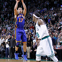 04 March 2012: New York Knicks point guard Jeremy Lin (17) takes a three points jumpshot during the Boston Celtics 115-111 (OT) victory over the New York Knicks at the TD Garden, Boston, Massachusetts, USA.