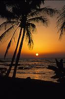 Sunset on the Kona coast of the big Island, Hawaii USA