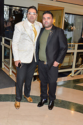 Left to right, PAUL SAGOO and singer NAUGHTY BOY at the 6th annual Asian Awards held at The Grosvenor House Hotel, Park Lane, London on 8th April 2016.