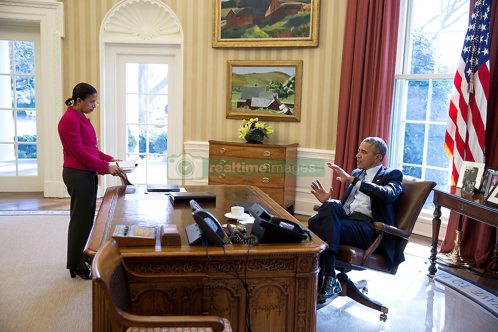 President Barack Obama meets with National Security Advisor Susan E. Rice in the Oval Office, March 18, 2015. (Official White House Photo by Pete Souza)<br /> <br /> This official White House photograph is being made available only for publication by news organizations and/or for personal use printing by the subject(s) of the photograph. The photograph may not be manipulated in any way and may not be used in commercial or political materials, advertisements, emails, products, promotions that in any way suggests approval or endorsement of the President, the First Family, or the White House.
