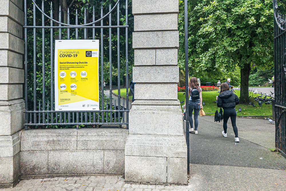 Covid-19 signage at the entrance to St Stephens Green, in Dublin 2.