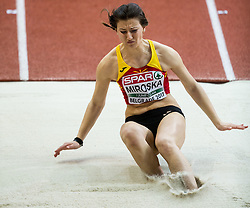 Martina Miroska of Macedonia competes in the Long Jump Women Qualification on day two of the 2017 European Athletics Indoor Championships at the Kombank Arena on March 4, 2017 in Belgrade, Serbia. Photo by Vid Ponikvar / Sportida