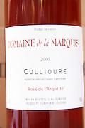 Cuvee Rose de l'Arquette. Domaine de la Marquise. Collioure. Roussillon. France. Europe. Bottle.