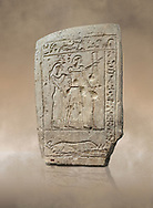 Ancient Egyptian stele of a bowman and his wife, limestone, First Intermediate Period, 7-11th Dynasty, (2118-1980 BC), Deir el-Medina, Schiaparelli cat 1273. Egyptian Museum, Turin. .<br /> <br /> If you prefer to buy from our ALAMY PHOTO LIBRARY  Collection visit : https://www.alamy.com/portfolio/paul-williams-funkystock/ancient-egyptian-art-artefacts.html  . Type -   Turin   - into the LOWER SEARCH WITHIN GALLERY box. Refine search by adding background colour, subject etc<br /> <br /> Visit our ANCIENT WORLD PHOTO COLLECTIONS for more photos to download or buy as wall art prints https://funkystock.photoshelter.com/gallery-collection/Ancient-World-Art-Antiquities-Historic-Sites-Pictures-Images-of/C00006u26yqSkDOM
