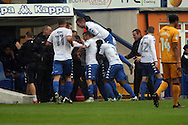 Jacob Mellis of Bury (not in view) celebrates with his teammates after scoring his teams 2nd goal. EFL Skybet football league one match, Bury v Port Vale at Gigg Lane in Bury ,Lancs on Saturday 3rd September 2016.<br /> pic by Chris Stading, Andrew Orchard sports photography.
