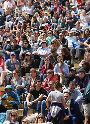 Spectators on Murray Mound watch Andy Murray play Sam Querrey on day nine of the Wimbledon Championships at the All England Lawn Tennis and Croquet Club, Wimbledon. PRESS ASSOCIATION Photo. Picture date: Wednesday July 12, 2017. See PA story TENNIS Wimbledon. Photo credit should read: Philip Toscano/PA Wire. RESTRICTIONS: Editorial use only. No commercial use without prior written consent of the AELTC. Still image use only - no moving images to emulate broadcast. No superimposing or removal of sponsor/ad logos.