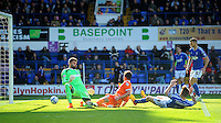 GOAL - Blackpool's Henry Cameron scores his sides second goal <br /> <br /> Photographer Kevin Barnes/CameraSport<br /> <br /> Football - The Football League Sky Bet Championship - Ipswich Town v  Blackpool - Saturday 11th April 2015 - Portman Road - Ipswich<br /> <br /> © CameraSport - 43 Linden Ave. Countesthorpe. Leicester. England. LE8 5PG - Tel: +44 (0) 116 277 4147 - admin@camerasport.com - www.camerasport.com