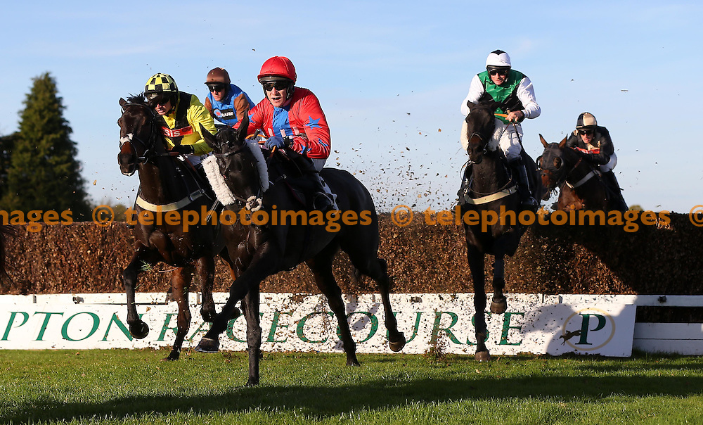 Plumpton, UK. 31st October 2016. Tom Scudamore riding Dawnieriver (Red Cap) clear an early fence before winning the Follow At The Races On Instagram Novices´ Handicap Chase<br /> © Telephoto Images / Alamy Live News