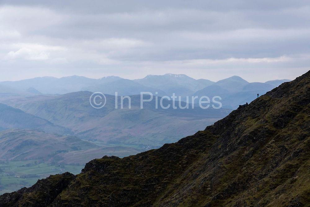 A lone person hikes up the path between Gategill Fell and the summit Hallsfell of Blencathra Mountain, Lake Districts, Cumbria, UK.  The beautiful hills and valleys of the Lake District National Park surrounds the mountain. The sky is cloudy and overcast.