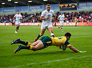 Australia full-back Jack Maddocks dives over to score in the opening minute  during the World Rugby U20 Championship  match England U20 -V- Australia U20 at The AJ Bell Stadium, Salford, Greater Manchester, England on June  15  2016, (Steve Flynn/Image of Sport)
