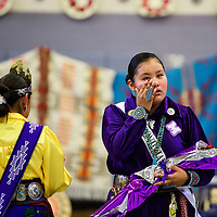 Kyia Dawes, 17, wipes a tear away moments after being announced Miss Miyamura 2018-19 at Miyamura High School, Friday Nov. 16 in Gallup.