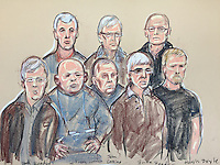 The 8 men accused of the £60 million Hatton Garden heist appear in the dock at Westminster Magistrates Court<br /> Back row from left Daniel Jones, Terry Perkins, Carl Wood.<br /> Front row from left Paul Reader, William Lincoln, John Collins, Brian Reader and Hugh Doyle