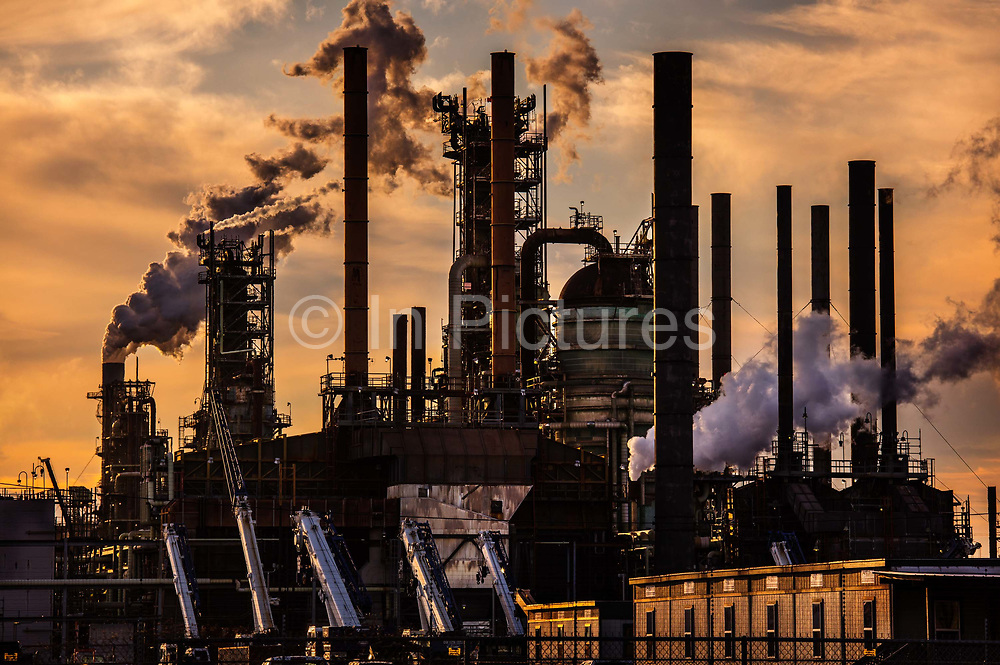 Oil refinery, owned by Exxon Mobil, is the second largest in the country  on 28th February 2020 in Baton Rouge, Louisiana, United States. Tens of thousands of people live within 2 miles of the complex, which produces gasoline for much of the East Coast. The petrochemical plants inside the complex make materials used in products such as diapers, chewing gum, tires and makeup. The state government gives Exxon permission to pump out millions of pounds of air pollution each year from its Baton Rouge complex. But because of accidents and leaks, from 2008 to 2011 the Exxon Mobil Baton Rouge complex put out nearly 4 million pounds of volatile organic compounds, or VOCs, without the governments approval.