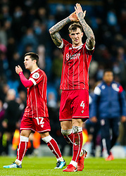 Aden Flint of Bristol City thanks the away support after his side lose 2-1 in added time - Rogan/JMP - 09/01/2018 - Etihad Stadium - Manchester, England - Manchester City v Bristol City - Carabao Cup Semi Final First Leg.