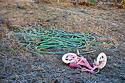 little children bicycle with garden hose abandoned in frosted field