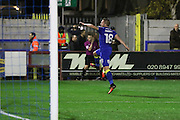 AFC Wimbledon midfielder Dean Parrett (18) scores a goal 2-0 and celebrates during the The Emirates FA Cup 1st Round Replay match between AFC Wimbledon and Bury at the Cherry Red Records Stadium, Kingston, England on 15 November 2016. Photo by Stuart Butcher.