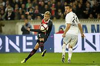 FOOTBALL - FRENCH CHAMPIONSHIP 2011/2012 - L1 - PARIS SAINT GERMAIN v SM CAEN  - 29/10/2011 - PHOTO JEAN MARIE HERVIO / DPPI - JEREMY MENEZ (PSG) / GREGORY LECA (SMC)