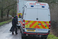 © Licensed to London News Pictures 12/03/2021. Ashford, UK. Teams of Metropolitan police officers continue to search Great Chart Leisure in Ashford, Kent today in connection with the ongoing investigation into the disappearance of Sarah Everard from London. Photo credit:Grant Falvey/LNP