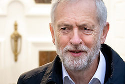 © Licensed to London News Pictures. 16/01/2019. London, UK. Leader of the Labour Party Jeremy Corbyn leaves his home in north London this morning. Last night, Corbyn tabled a motion of no confidence in British Prime Minister Theresa May, following the worst government defeat on record of 230 votes on her EU withdrawal deal. Photo credit : Tom Nicholson/LNP