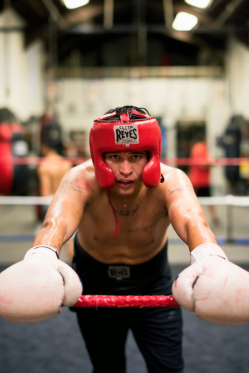 Calderson waits to have his gloves cleaned after a sparring session at La Habra Boxing Club in La Habra, Calif., on Thursday November 3, 2016. (© Kurt Stoffer 2016/Sports Shooter Academy)