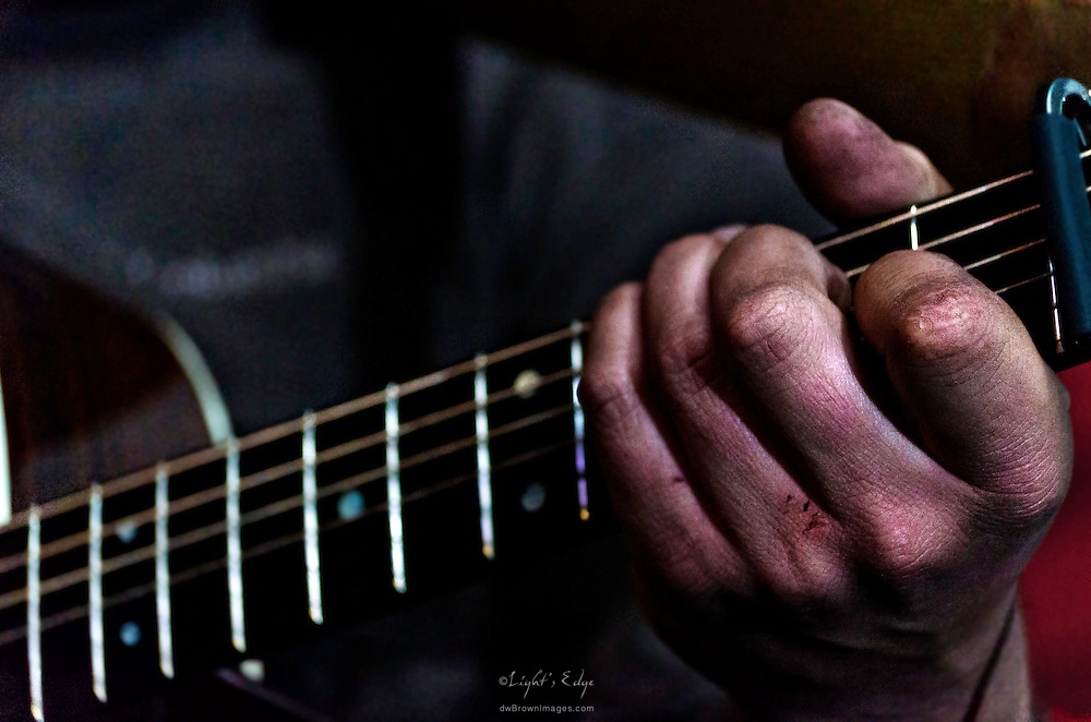 Paul Wilkinson working his guitar during Mason Porter's performance at Fergie's Pub in Philadelphia for Appel Farm's Festival Happy Hour.