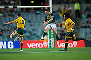 Morne' Steyn flies after a kick during the The Rugby Championship match Australia v South Africa at Patersons Stadium, Perth, Australia on Saturday 8th September 2012. Photo: Daniel Carson/photosport.co.nz