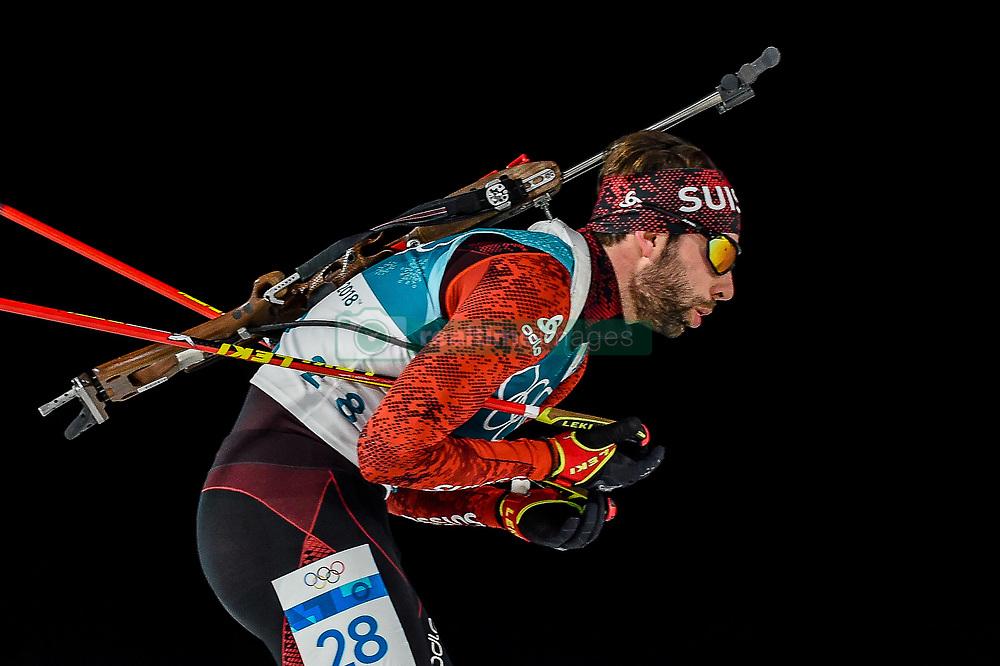 February 18, 2018 - Pyeongchang, Gangwon, South Korea - Serafin Wiestner of Switzerland competing in  15 km mass start biathlon at Alpensia Biathlon Centre, Pyeongchang,  South Korea on February 18, 2018. (Credit Image: © Ulrik Pedersen/NurPhoto via ZUMA Press)
