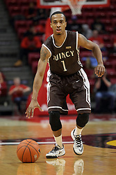 29 December 2014:   Ja'mil Jones during an NCAA non-conference interdivisional exhibition game between the Quincy University Hawks and the Illinois State University Redbirds at Redbird Arena in Normal Illinois.