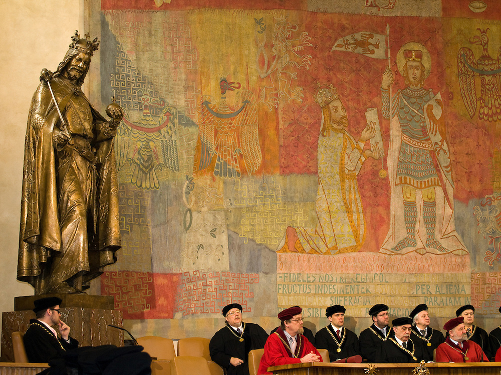 Conferment of a honorary doctorate in sciences at Charles University by the academy of sciences and the academic senat in Prague. In 1393 Jan Hus earned the degree of Bachelor of Arts at the University of Prague, and he earned his master's degree in 1396. In 1400, he was ordained as a priest. In 1402 Hus began preaching inside the city demanding for the reformation of the Church. He served as rector of the University of Prague in 1402–03.
