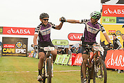 Andrew Mclean and Heinz Zoerweg of Team Cyclelab Toyota maintain their masters leader jerseys after winning their category on stage 1 of the 2014 Absa Cape Epic Mountain Bike stage race held from Arabella Wines in Robertson, South Africa on the 24 March 2014<br /> <br /> Photo by Greg Beadle/Cape Epic/SPORTZPICS
