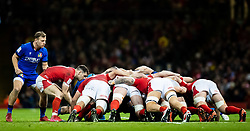 Tomos Williams of Wales puts in to the scrum<br /> <br /> Photographer Simon King/Replay Images<br /> <br /> Six Nations Round 1 - Wales v Italy - Saturday 1st February 2020 - Principality Stadium - Cardiff<br /> <br /> World Copyright © Replay Images . All rights reserved. info@replayimages.co.uk - http://replayimages.co.uk