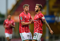 Lincoln City's James Jones, left, and Jorge Grant celebrate the opening goal<br /> <br /> Photographer Chris Vaughan/CameraSport<br /> <br /> Carabao Cup Second Round Northern Section - Bradford City v Lincoln City - Tuesday 15th September 2020 - Valley Parade - Bradford<br />  <br /> World Copyright © 2020 CameraSport. All rights reserved. 43 Linden Ave. Countesthorpe. Leicester. England. LE8 5PG - Tel: +44 (0) 116 277 4147 - admin@camerasport.com - www.camerasport.com