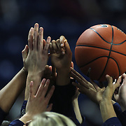 The UConn team embrace with their hands before the UConn Vs DePaul, NCAA Women's College basketball game at Webster Bank Arena, Bridgeport, Connecticut, USA. 19th December 2014