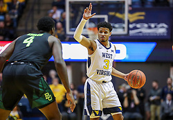 Jan 21, 2019; Morgantown, WV, USA; West Virginia Mountaineers guard James Bolden (3) calls out a play during the second half against the Baylor Bears at WVU Coliseum. Mandatory Credit: Ben Queen-USA TODAY Sports