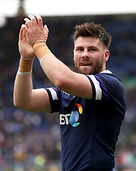 Scotland's Ali Price acknowledges the fans after the final whistle during the NatWest 6 Nations match at the Stadio Olimpico, Rome.