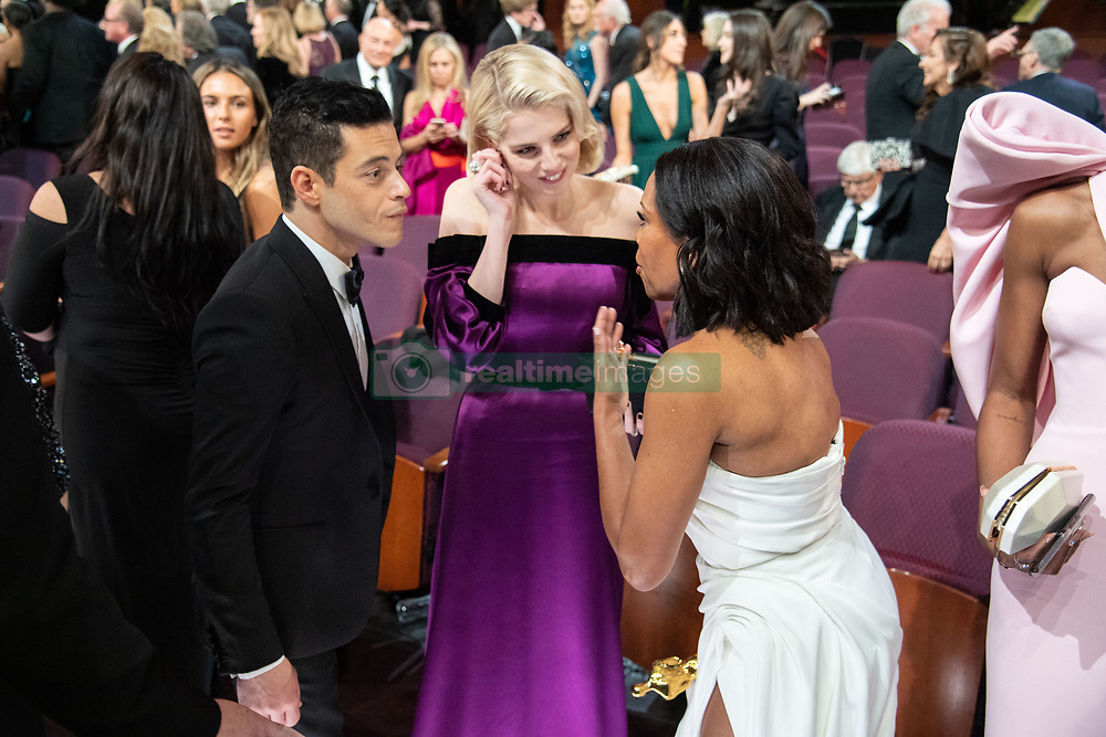 Rami Malek, Lucy Boyton and Regina King chat during the live ABC Telecast of The 91st Oscars® at the Dolby® Theatre in Hollywood, CA on Sunday, February 24, 2019.