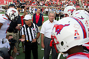 DALLAS, TX - AUGUST 30: Former President George W. Bush helps officiate the coin toss before kickoff between the SMU Mustangs and the Texas Tech Red Raiders on August 30, 2013 at Gerald J. Ford Stadium in Dallas, Texas.  (Photo by Cooper Neill/Getty Images) *** Local Caption *** George W. Bush