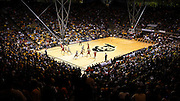 SHOT 2/26/11 4:02:27 PM - A wide angle view as Colorado and Texas play during their regular season Big 12 basketball game at the Coors Events Center in Boulder, Co. Colorado upset the fifth ranked Texas 91-89. (Photo by Marc Piscotty / © 2011)