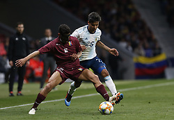 March 22, 2019 - Madrid, Madrid, Spain - Argentina's Domingo Blanco and Venezuela's Roberto Jose Rosales are seen in action during the International Friendly match between Argentina and Venezuela at the wanda metropolitano stadium in Madrid. (Credit Image: © Manu Reino/SOPA Images via ZUMA Wire)