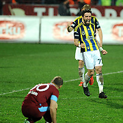 Fenerbahce's Gokhan Gonul (R) celebrate his goal during their Turkish SuperLeague Derby match Trabzonspor between Fenerbahce at the Avni Aker Stadium at Trabzon Turkey on Sunday, 17 February 2013. Photo by TURKPIX