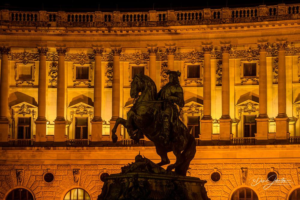 The Hofburg at night- Statue of Prince Eugene in the Heldenplatz, Vienna, Lower Austria, Austria