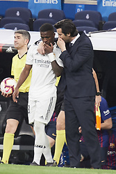 March 2, 2019 - Madrid, Madrid, Spain - Vinicius Junior (forward; Real Madrid), Santiago Solari (coach; Real Madrid) in action during La Liga match between Real Madrid and FC Barcelona at Santiago Bernabeu Stadium on March 3, 2019 in Madrid, Spain (Credit Image: © Jack Abuin/ZUMA Wire)