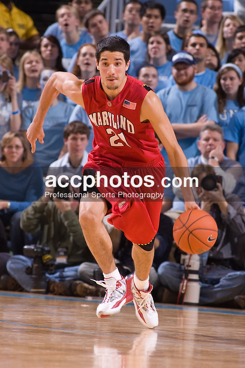 19 January 2008: Maryland Terrapins guard (21) Greivis Vasquez during a 93-84 win over the North Carolina Tar Heels at the Dean Smith Center in Chapel Hill, NC.