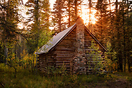 Log cabin, sunset, forest, San Juan Mountains, Colorado, San Juan National Forest
