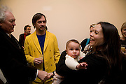 CHARLOTTE STOCKDALE , IMOGEN and MARK NEWSON, Exhibition of work by Marc Newson at the Gagosian Gallery, Davies st. London. afterwards at Mr. Chow, Knightsbridge. 5 March 2008.  *** Local Caption *** -DO NOT ARCHIVE-© Copyright Photograph by Dafydd Jones. 248 Clapham Rd. London SW9 0PZ. Tel 0207 820 0771. www.dafjones.com.