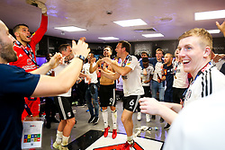 Free to use courtesy of Sky Bet. Kevin McDonald celebrates as Fulham celebrate in the dressing room after winning the game 0-1 to win the Sky Bet Championship Play-Off Final and secure Promotion to the Premier League - Rogan/JMP - 26/05/2018 - FOOTBALL - Wembley Stadium - London, England - Aston Villa v Fulham - Sky Bet Championship Play-Off Final.