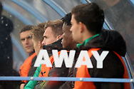 The Plymouth Argyll bench during the EFL Sky Bet League 1 match between Scunthorpe United and Plymouth Argyle at Glanford Park, Scunthorpe, England on 27 October 2018. Pic Mick Atkins