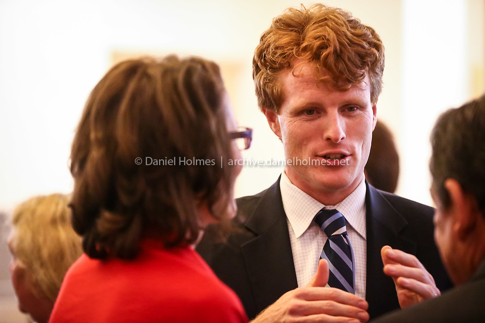 """(11/7/15, HOPKINTON, MA) U.S. Rep. Joe Kennedy III speaks with guests during the """"Lights Up"""" opening night and fundraiser at Hopkinton Center for the Arts on Saturday. Daily News and Wicked Local Photo/Dan Holmes"""