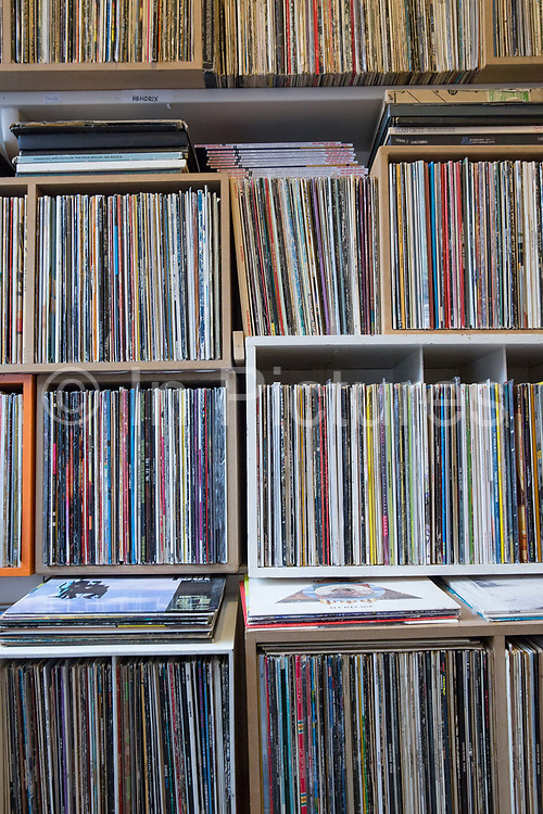 A shelf full of records at the Little Record Shop in Hornsey on the 27th March 2018 in North London, United Kingdom